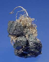 Acanthite/Silver, Shanxi Province, China; 2.8 cm.  Collectors Edge specimen; Richard Jackson photo