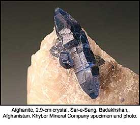 Afghanite, Sar-e-Sang, Badakhshan, Afghanistan; crystal 2.9 cm; Khyber Mineral Company specimen and photo