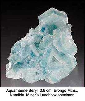 Aquamarine, Erongo Mountains, Damaraland, Namibia; 1.5 x 3 x 3.6 cm; Miner