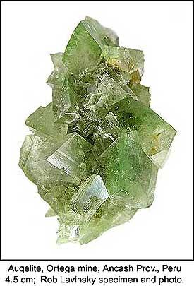 Augelite, Ortega mine, Ancash Department, Peru; 2 x 2.7 x 4.5 cm; Rob Lavinsky specimen and photo