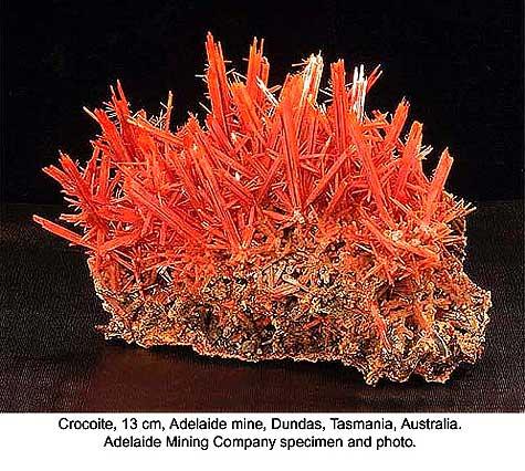 Crocoite, Adelaide mine, Dundas, Tasmania, Australia; 8 x 9.5 x 13 cm; Adelaide Mining Company specimen and photo
