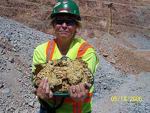 Gold, 55 pounds, Round Mountain mine, Nye County, Nevada
