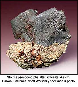 Stolzite pseudomorphic after scheelite, Darwin district, Inyo County, California; 3.1 x 4.7 x 4.9 cm; Scott Werschky specimen and photo
